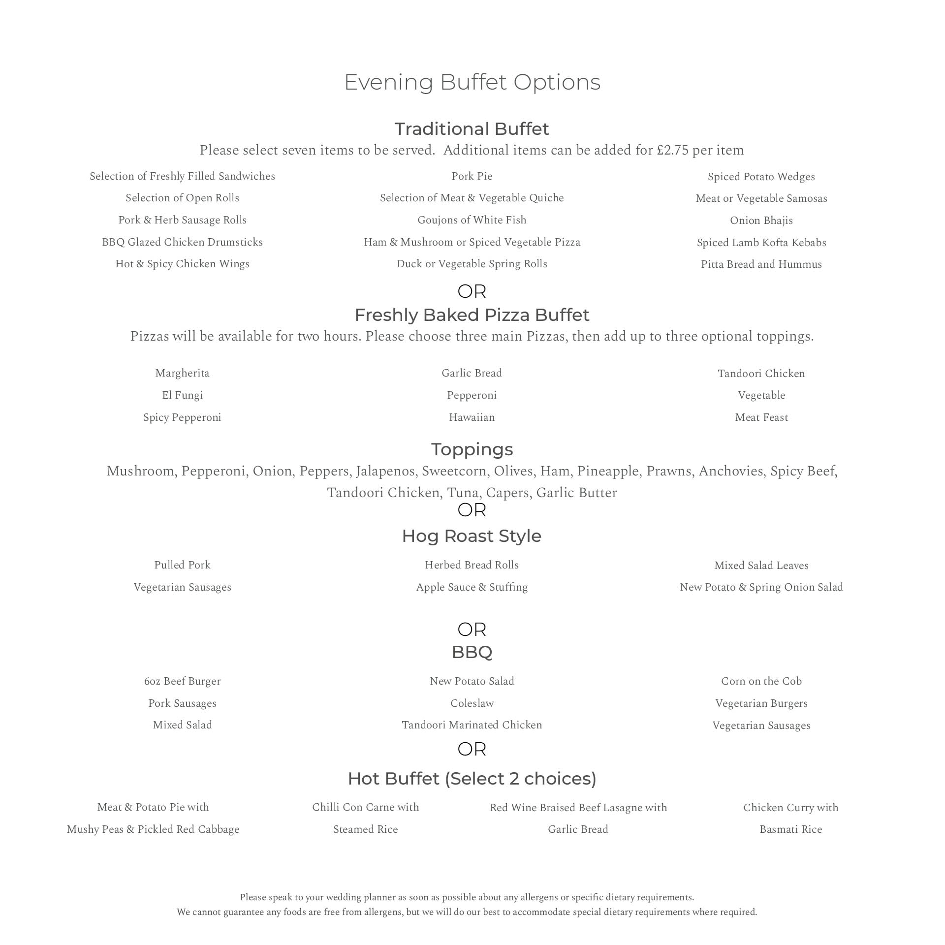 Orchid Package Evening Menu Bredbury Hall Wedding Venue in Stockport Cheshire