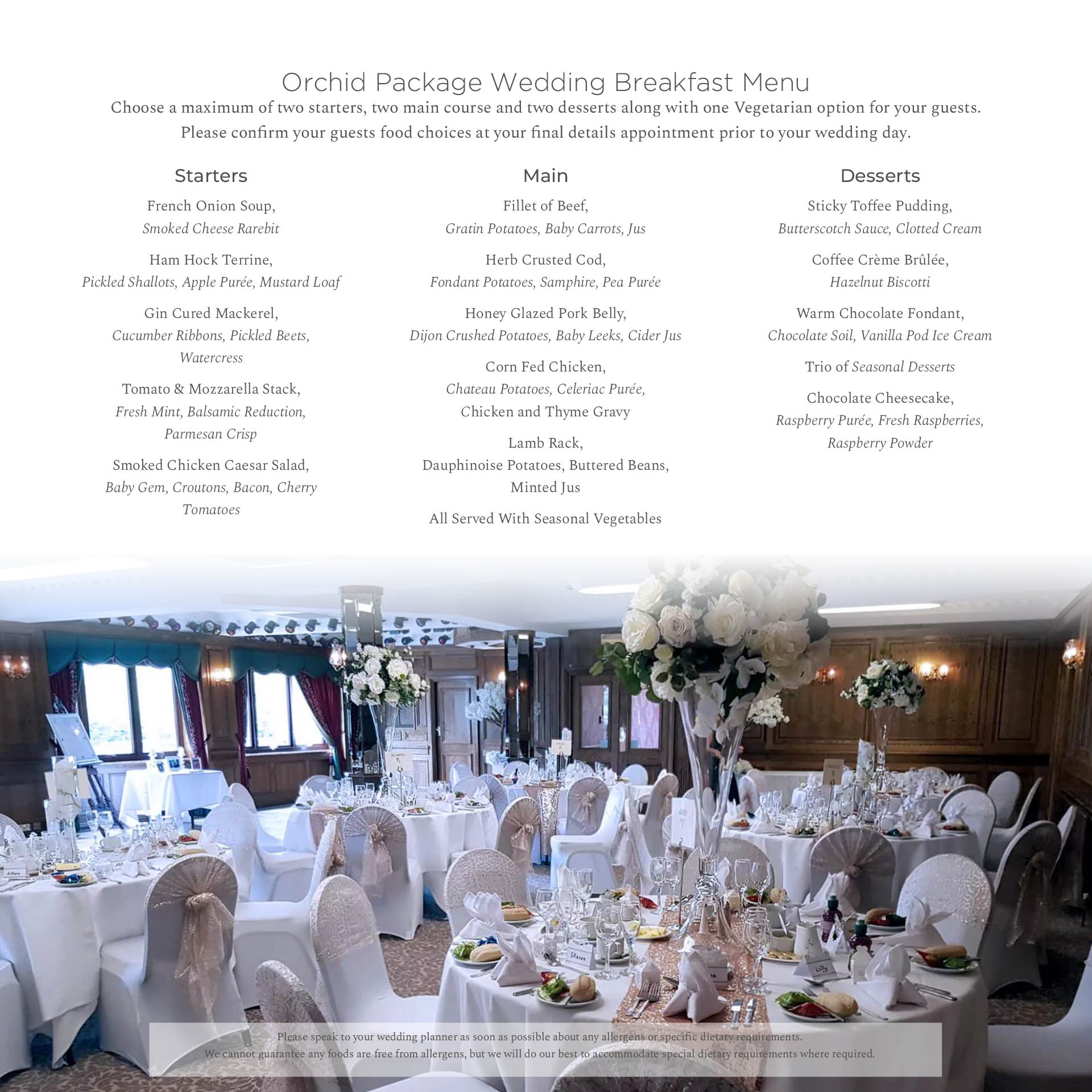 Orchid Package Menu Bredbury Hall Wedding Venue in Stockport Cheshire