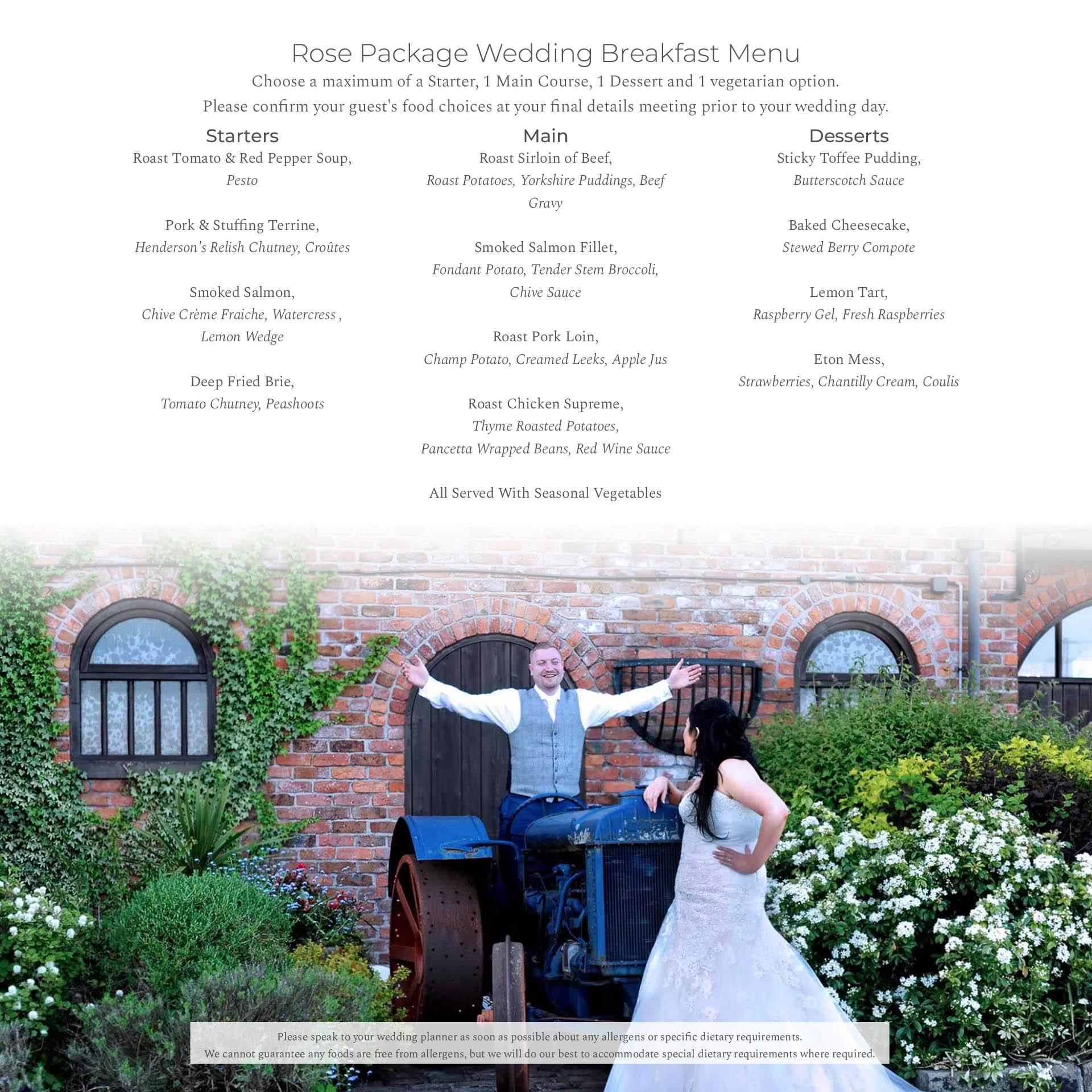 Rose Package Menu Bredbury Hall Wedding Venue in Stockport Cheshire
