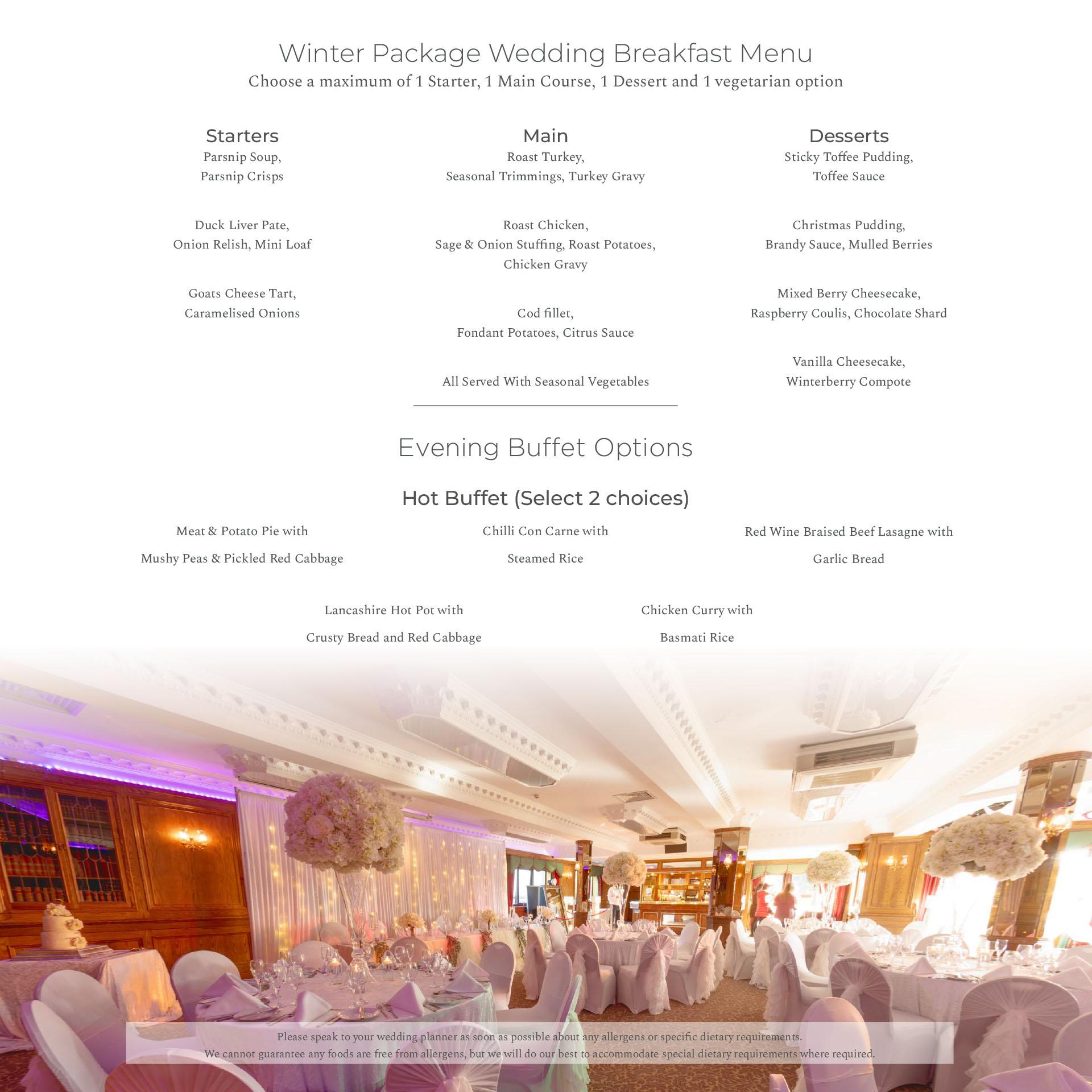 Winter Wedding Package at Weddings Bredbury Hall Wedding Venue in Stockport Cheshire